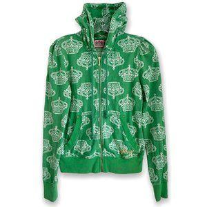 Juicy Couture Y2K Green Crown Print Zip-Up Hoodie